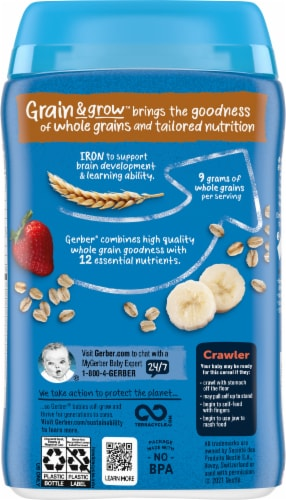 Gerber® Lil' Bits® Oatmeal Banana Strawberry Cereal Perspective: back