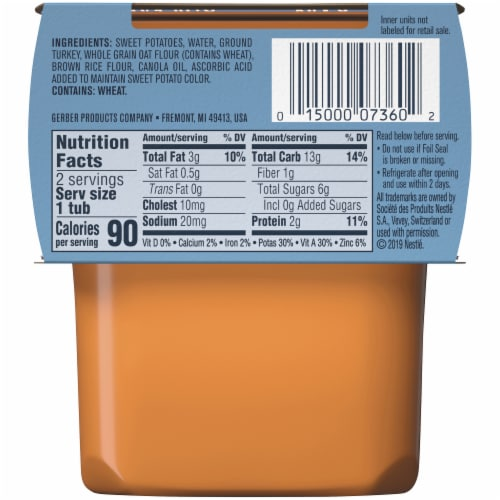 Gerber® 2nd Foods® Sweet Potato Turkey with Whole Grains Dinner Baby Food Perspective: back