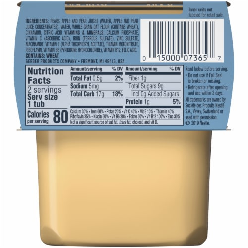 Gerber® 2nd Foods Pear Cinnamon with Oatmeal Cereal Stage 2 Baby Food Perspective: back