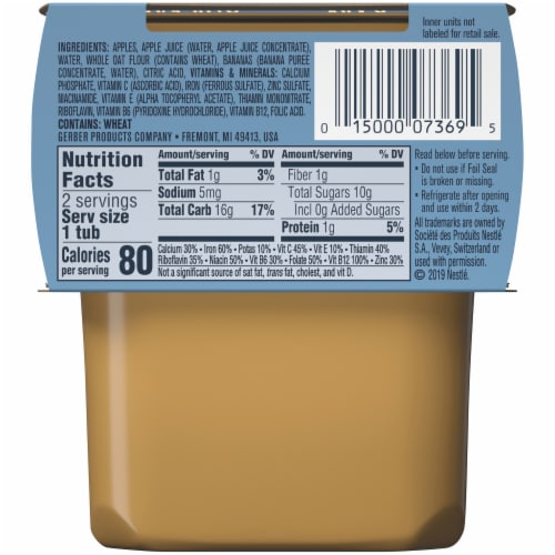 Gerber® 2nd Foods Apple Banana with Oatmeal Cereal Stage 2 Baby Food Perspective: back