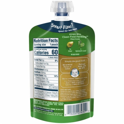 Gerber Organic Pear Spinach Pouch Perspective: back