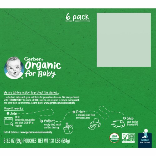 Gerber Organic 2nd Foods Apple & Peach Baby Food Perspective: back