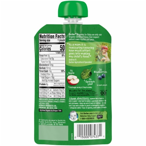 Gerber Organic 2nd Foods Apple Blueberry & Spinach Baby Food Perspective: back