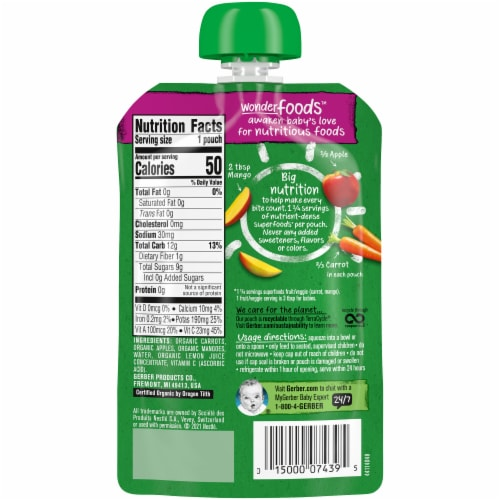 Gerber Organic 2nd Foods Carrot Apple & Mango Baby Food Pouch Perspective: back