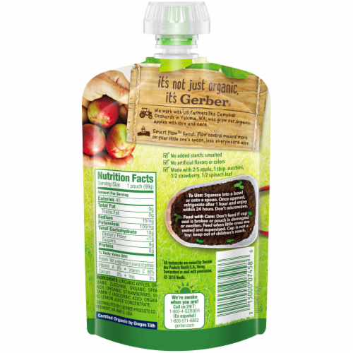 Gerber Organic Apple Zucchini Spinach & Strawberry Pouch Perspective: back