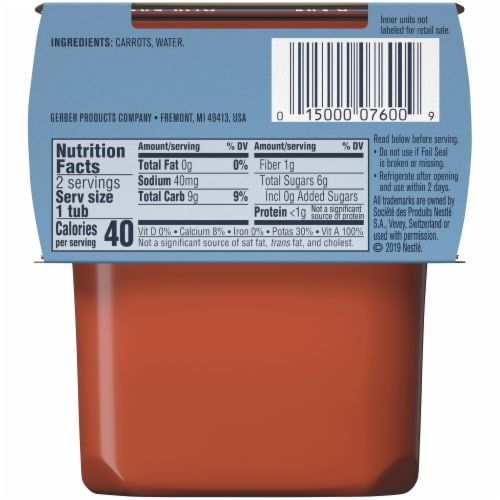 Gerber® 2nd Foods® Carrots Stage 2 Baby Food Perspective: back
