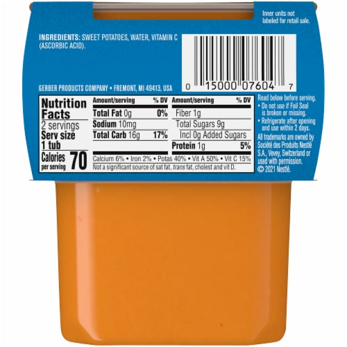 Gerber® 2nd Foods® Sweet Potato Stage 2 Baby Food Perspective: back