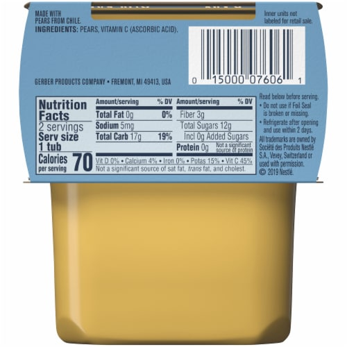 Gerber® 2nd Foods® Pear Stage 2 Baby Food Perspective: back