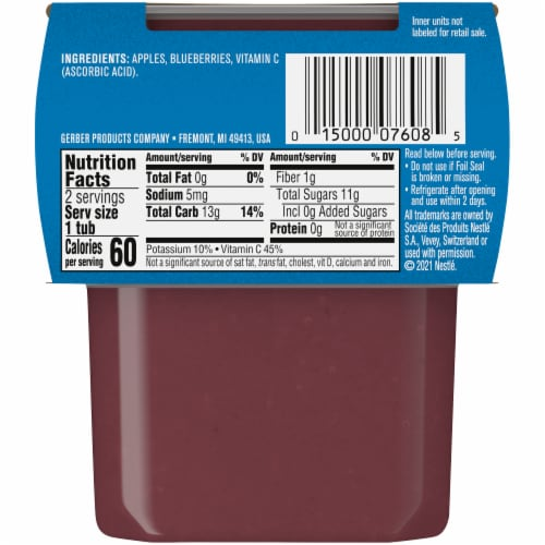 Gerber 2nd Foods Apple Blueberry Stage 2 Baby Food Perspective: back