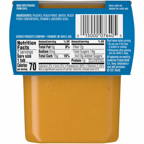 Gerber® 2nd Foods® Peach Stage 2 Baby Food Perspective: back
