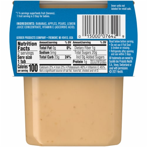 Gerber 2nd Foods Banana Apple & Pear Stage 2 Baby Food Perspective: back