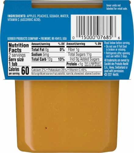 Gerber® 2nd Foods Apple Peach & Squash Baby Food Perspective: back