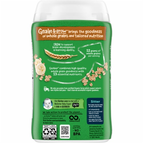 Gerber® 2nd Foods Organic Banana Oatmeal Cereal Perspective: back