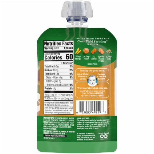 Gerber Organic Toddler Mango Peach Carrot Sweet Potato & Oatmeal Baby Food Perspective: back