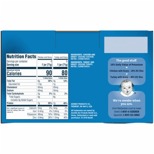 Gerber 2nd Foods Puree Favorites Chicken and Turkey Variety Pack Perspective: back
