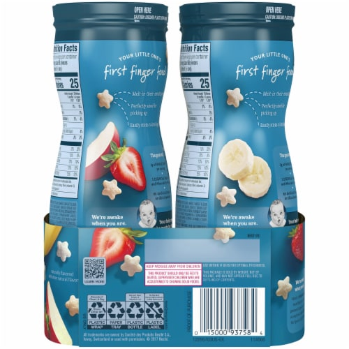 Gerber Crawler Puffs Banana Strawberry Apple Value Pack Perspective: back