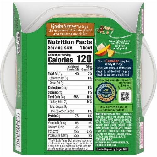Gerber® Organic Grain & Grow Morning Bowl Tropical Fruits Baby Cereal Perspective: back