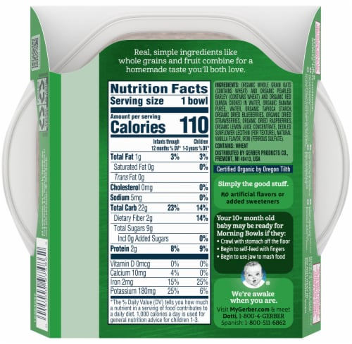 Gerber® Organic Grain & Grow Morning Bowl Summer Berries Baby Cereal Perspective: back