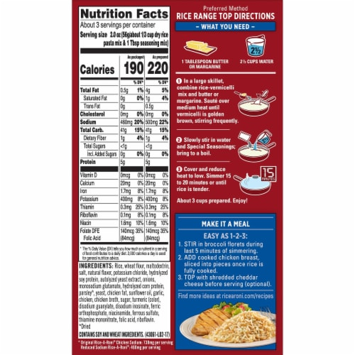 Rice-A-Roni Lower Sodium Chicken Flavor Rice Perspective: back