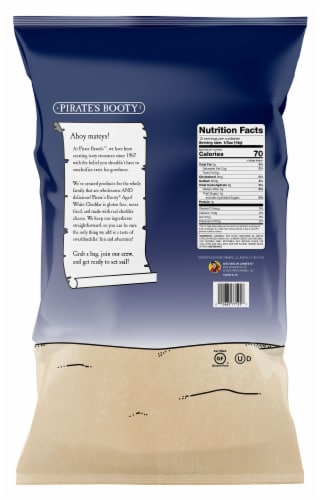 Pirate's Booty Aged White Cheddar Rice & Corn Puffs Lunch Bags Perspective: back