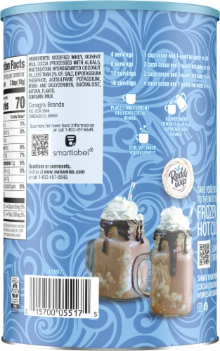 Swiss Miss No Sugar Added Hot Cocoa Mix Canister Perspective: back