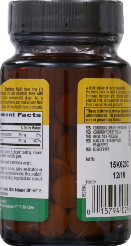 Country Life Zinc Picolinate 25 mg Tablets Perspective: back