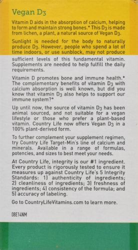 Country Life Vegan D3 Softgels 5000 IU 60 Count Perspective: back