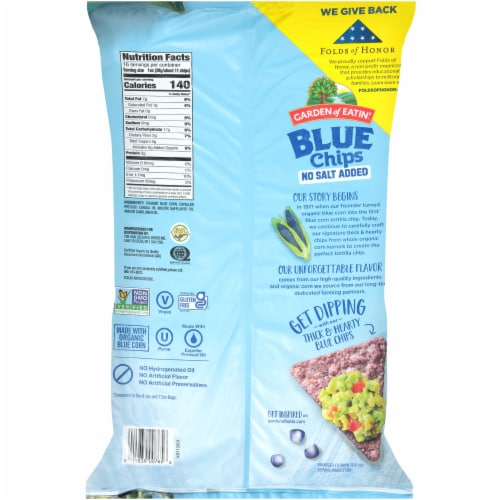 Garden of Eatin'® No Salt Added Blue Corn Tortilla Chips Perspective: back