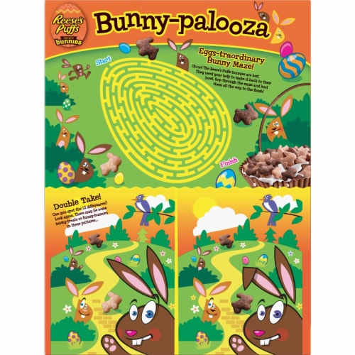 Reese's Puffs Peanut Butter Bunnies Sweet & Crunchy Corn Puff Cereal Perspective: back