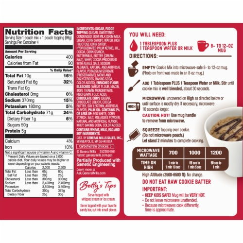 Betty Crocker Soft Baked Chocolate Chip Cookie Mug Treat Mix Pouches 4 Count Perspective: back