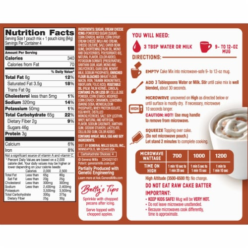 Betty Crocker Mug Treats Cinnamon Roll Mix Perspective: back