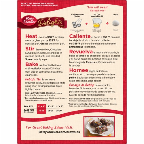 Betty Crocker Delights Supreme Original Brownie Mix Perspective: back