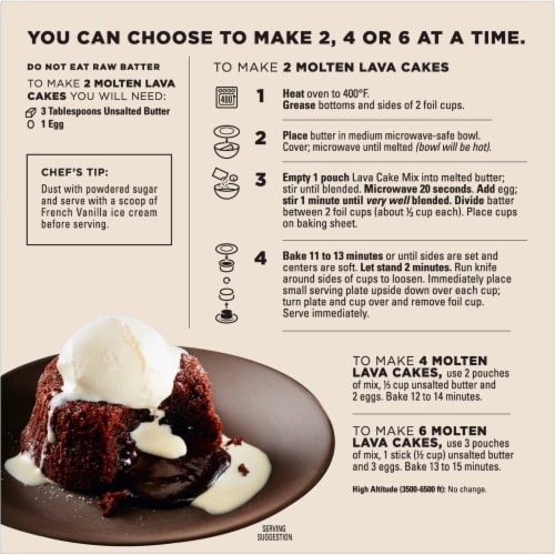 Godiva Molten Lava Cakes Baking Mix Perspective: back