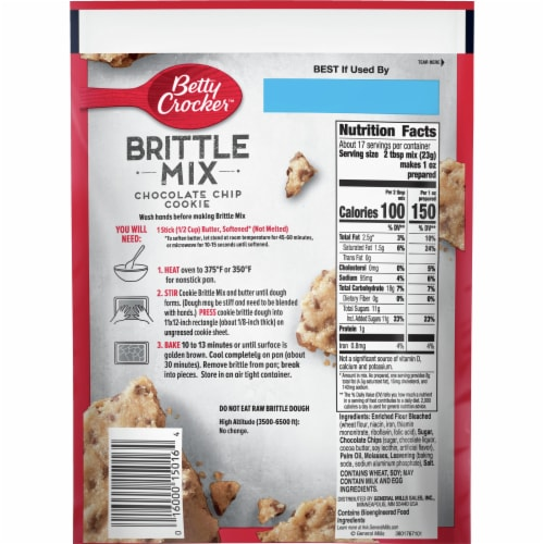 Betty Crocker Chocolate Chip Cookie Brittle Mix Perspective: back