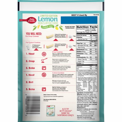 Betty Crocker Limited Edition Lemon Cookie Mix Perspective: back
