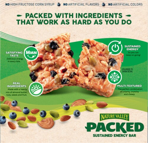 Nature Valley™ Packed Almond Butter & Blueberry Sustained Energy Bars Perspective: back