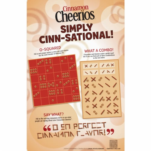Cheerios Cinnamon Whole Grain Oat Cereal Perspective: back