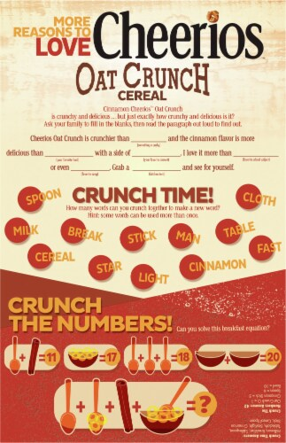 Cheerios Oat Crunch Cinnamon Multigrain Cereal Perspective: back