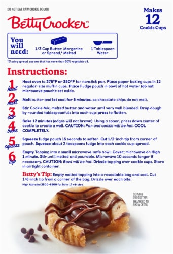 Betty Crocker Chocolate Chip Fudge Cookie Cups Baking Mix Perspective: back