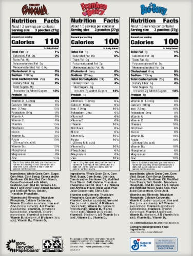 General Mills Monster Cereals™ Snack Packs Perspective: back