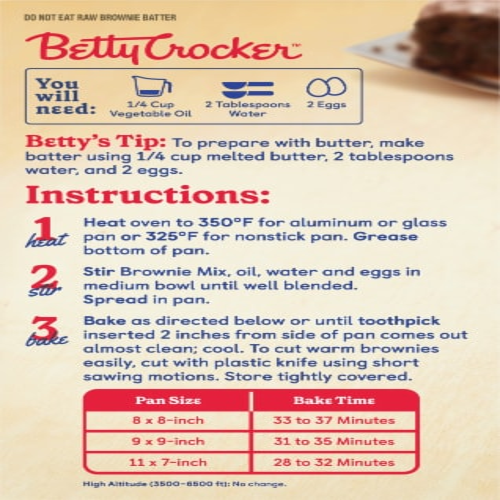 Betty Crocker Gluten Free Chocolate Brownie Mix Perspective: back