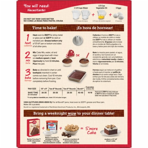 Betty Crocker Favorites Super Moist Milk Chocolate Cake Mix Perspective: back