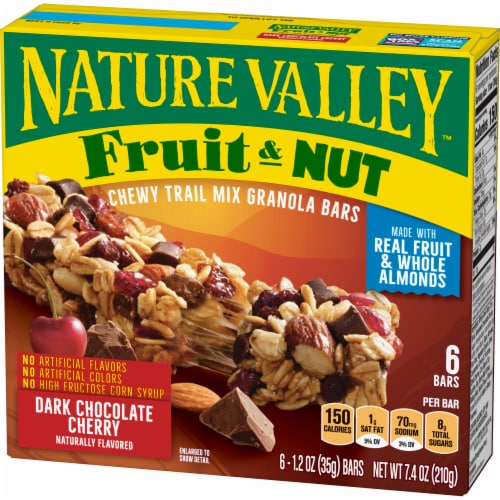 Nature Valley Fruit & Nut Dark Chocolate Cherry Chewy Trail Mix Granola Bars Perspective: back