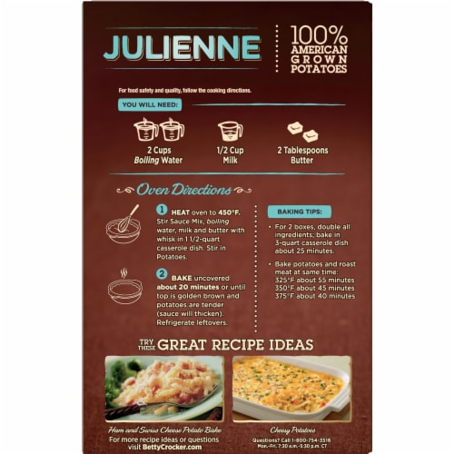 Betty Crocker Julienne Potatoes Perspective: back