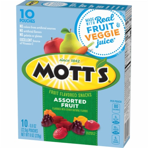 Mott's Assorted Fruit Flavored Snacks 10 Count Perspective: back