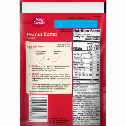 Betty Crocker Peanut Butter Snack Size Cookie Mix Perspective: back