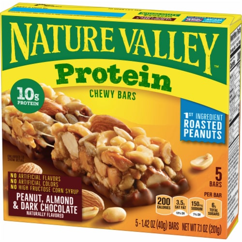Nature Valley Peanut Almond & Dark Chocolate Protein Chewy Bars 5 Count Perspective: back