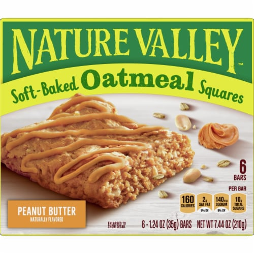 Nature Valley Soft Baked Peanut Butter Oatmeal Squares Perspective: back