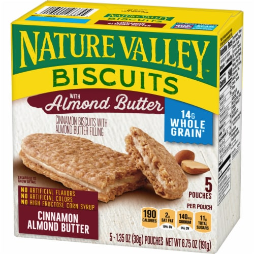 Nature Valley Cinnamon Almond Butter Biscuit Snack Cookies Perspective: back
