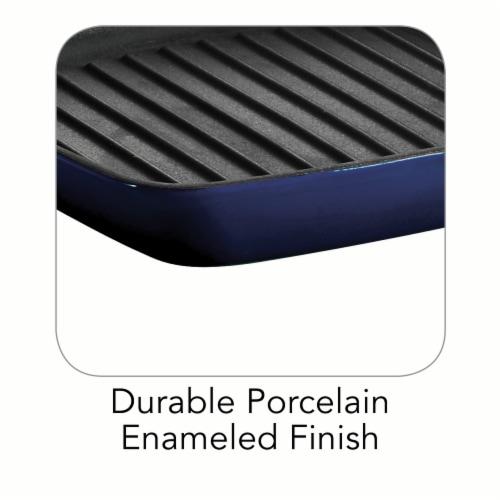 Tramontina Gourmet Cast Iron Grill Pan - Gradated Cobalt Perspective: back